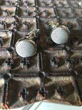 Egara Textured Cufflinks Grey Black Herring Bone Pattern Silvertone