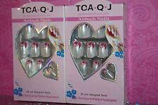 TCA.Q.J AIRBUSH NAILS 24 PCS DESIGNED Acrylic Nail tips LOT OF 2 USA SELLER #3