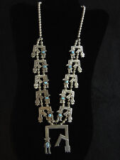 Zuni Rainbowman Silver Turquoise Necklace Naja Unmarked Unsigned