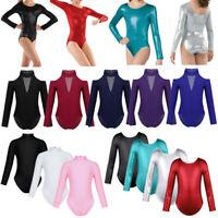 Girls Ballet Dance Long Sleeves Leotard Gymnastics Turtleneck Dancewear Costume