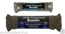 Forest Camo 550 Cord 100 Ft Paracord Lanyard Type III 7 Strand Camping Survival