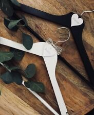 Rustic Wedding personalised wooden white coat hangers