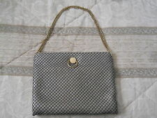 "VINTAGE GRAY MESH HANDBAG WITH GOLD CHAIN STRAP 8"" TALL 10"" WIDE"