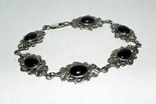 "Black Onyx Cabochon Old Mexico 925 Sterling Silver Bracelet  8"" Long"