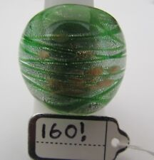 Style Glass Ring. Uk-Q.Us-8. (160!) A Green/Silver & Gold Spots Murano