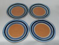 Crate & Barrel CORTEZ STRIPE Terracotta Salad Plates Made in Italy ~ Set of 4