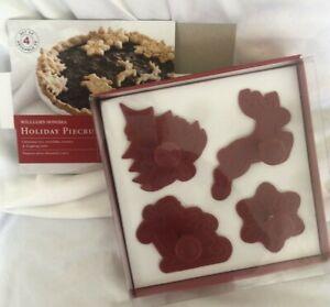 William Sonoma Holiday Piecrust Cutters Set of 4 Santa Reindeer Tree Snowflake