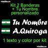 Pegatina Vinilo Bandera Andalucia + Nombre Personalizado