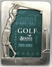 1990© Woman Playing Golf Frame by Seagull Canada Pewter ~ Etain Zinn Pewter ~