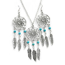 Retro Silver Dreamcatcher leaf Beads Necklace Earrings Set Perfect Gift Giving