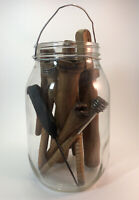 Large Glass Jar Of Vintage Wooden Thread Spooks Bobbins & Awl? (As Pictured)