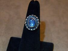 New Signed 6ct Natural Blue/Grey Star Sapphire Sterling Silver Ring Size 6.5