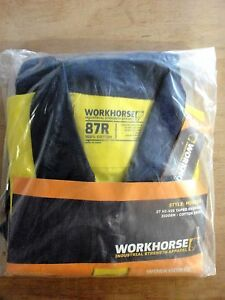 WORKHORSE/ MOV003/ 3M HI VIZ TAPED COVERALL/ 310GSM/ Yellow/Navy/ Size: 87R