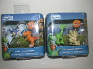Disney The Good Dinosaur Lot of 2 Ramsey & Thunderclap, Arlo & Forrest Woodbush