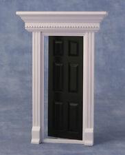6 Panel Painted Black Front Door, Doll House Front Door, Miniature DIY Fixture