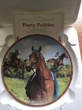 PARTY POLITICS FAMOUS RACEHORSE PLATE DANBURY MINT ROYAL WORCESTER BOX CERT