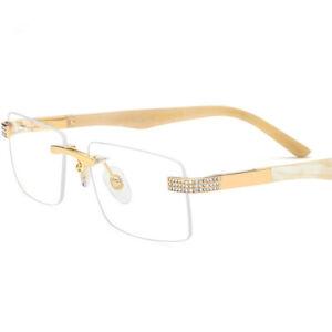 Luxury Natural Buffalo Horn Titanium Eyeglass frames Rimless Jewels Eyewear
