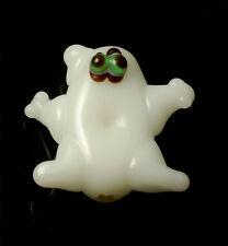 20 Halloween lampwork glass Beads Green Eye Ghosts