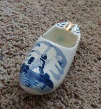 Vintage Holland Hand-painted Delft Porcelain Windmill Dutch Shoe Ashtray