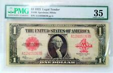 1923 $1 RED SEAL LEGAL TENDER NOTE FR#40 PMG35 CHOICE VERY FINE S#5087BppG