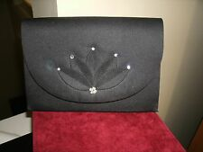 Vintage NINA RICCI Clutch: Convertable Chain For Shoulder Black With Rhinestones