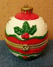 Vtg. Hinged Ceramic Christmas Ornament Trinket Box w/14k Guardian Angel Pendant