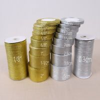 Silver/Gold Silk Satin Ribbon Party Home Wedding Decoration Gift Wrapping