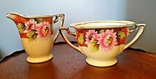 Vintage NORITAKE 1930's Cream and Sugar - Pink Flowers On Orange Rim N3553