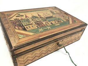 Coffret Boite Marqueterie de Paille XIX EME Antique Wood Marquetry Box 19 th