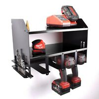 Drill Driver Battery Charger Tool Rack Shelving Storage Workshop Organiser Black
