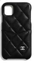 NIB Authentic CHANEL iphone XI Max Pro black caviar leather case - RARE!