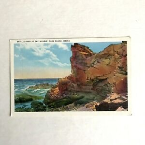 Devil's Oven at the Nubble York Beach ME Postcard White Border Tichnor Divided
