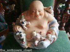 """Chinese Famille Rose Porcelain Fertility Buddha Statue 11"""" tall  x 14""""[2]"""