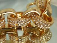Vintage 80's Gorgeous Gold Tone Ice Rhinestone Toggle Clasp Link Bracelet 956j1