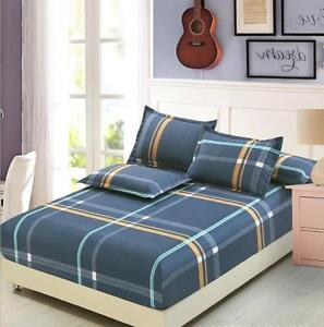 Modern Plaid Cotton Bed Fitted Sheet Set Bedding Mattress Protector Queen King