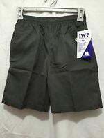 BNWT Boys Sz 4 LW Reid Brand Smart Black Gaberdine Elastic Waist School Shorts