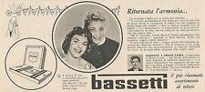 W1761 BASSETTI - Virginia Lisi di Napoli - Pubblicità del 1958 - Vintage advert