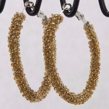 """Bugle bead wrapped endless big huge silver hoop earrings 2.5"""" amber sparkly"""