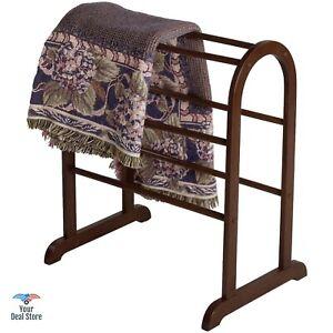 Standing Towel Rack Quilts Display Wooden Blanket Holder Floor Hanger Stand Dorm