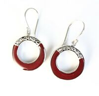 Sterling Silver 925 Round Shaped Sponge Coral Filigree Dangle Hook Earrings