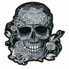 BANDANA SKULL WITH RHINESTONES, Embroidered Iron-On / Saw-On Rayon PATCH - 4 x 4