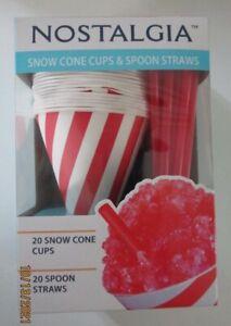 NOSTALGIA SNOW CONE CUPS AND SPOON STRAWS