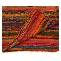 Indische Yogamatte Orange Teppich Handgewebter Baumwollteppich aus 100% Bunte