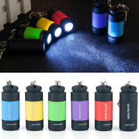 New Waterproof Mini USB Rechargeable LED Torch Lamp Flashlight Keychain Keyring