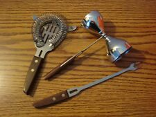 New listing Vintage Bar Tool 3 Pc Set Stainless jigger strainer fork Japan Wooden Handles