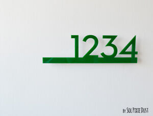 Modern House Numbers Green Acrylic - Contemporary Home Address - Sign Plaque