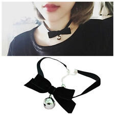 Fashion Gothic Lolita Bow Bells Choker Velvet Ribbon Lace Necklace