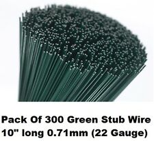 "Florists Thin Stub Wire 300 10"" Green Lacquered Flower Arranging Stubbing Craft"