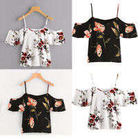 Women's Summer Casual Off Shoulder Chiffon Printed Blouse Cold Shoulder Tops