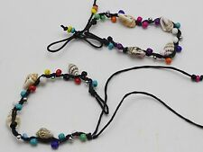 5 Mixed Color Glass Seed Bead & Conch Shell Wax Cotton Woven Bracelet Friendship